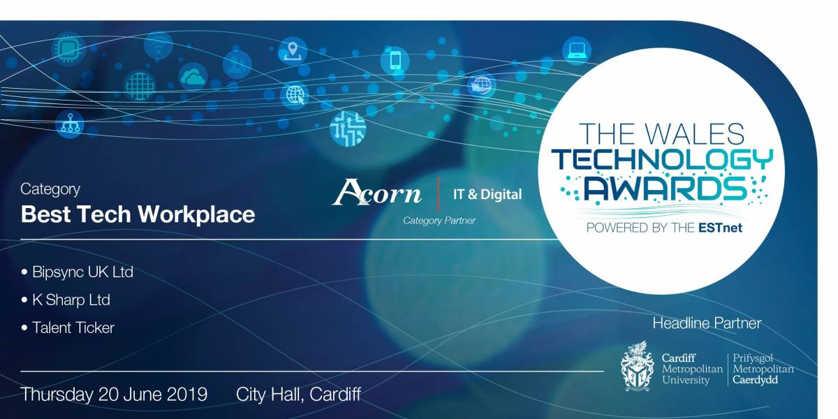 K Sharp is announced as finalists in the Wales Technology Awards #WalesTechAwards Image